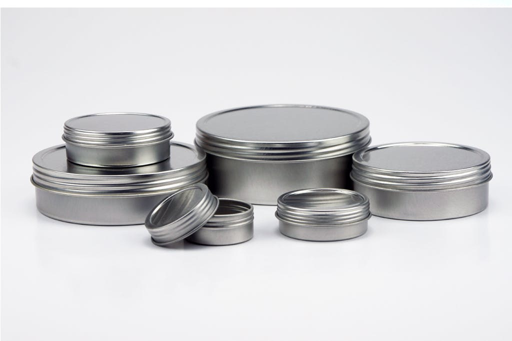Shallow Screw Top Tin Can - Silver Metal tins sold by Mimi Pack