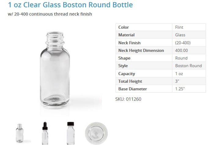 1 oz. Green Boston Round Bottles - sold by Packaging Options Direct
