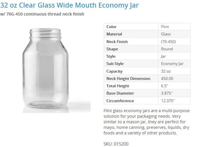 32 oz Clear Glass Wide Mouth Economy Jar Glass Jar sold by Packaging Options Direct