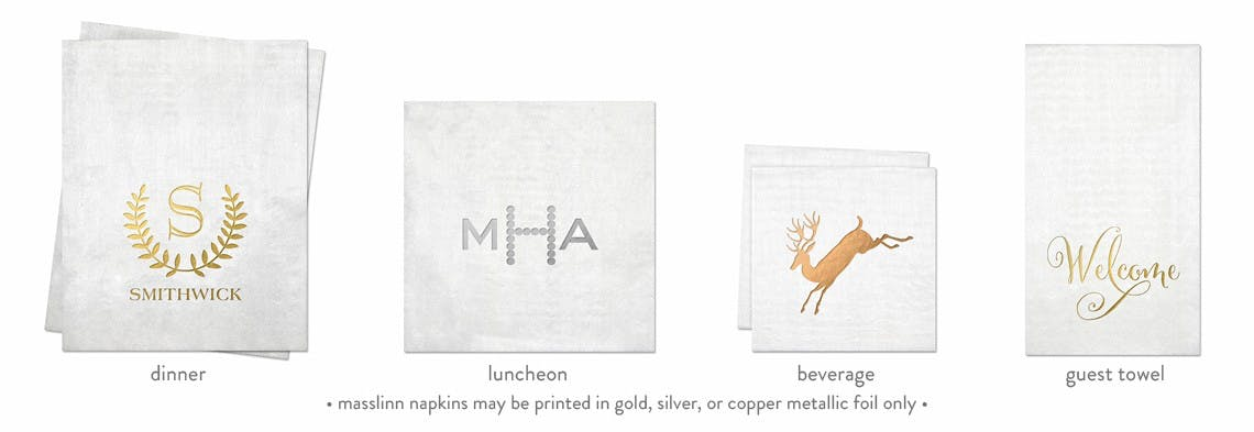 Masslinn Napkins (min. order 50) - Custom Napkins - sold by Cup of Arms