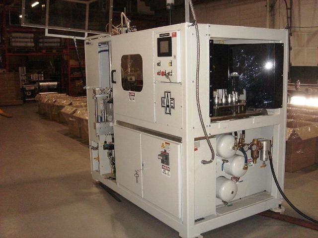 Single Cavity L12 PET stretch Blow Molder (20ml to 2 liter) - For Lab or Full Scale Production Blow molding machine sold by Amsler Equipment