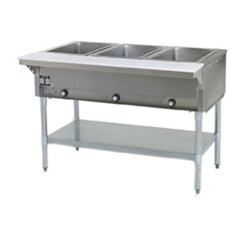 Eagle Metal Masters DHTS3-120 Steam Table, Electric Steam Table, 3 Hole, SS Liner, 120 Volt Steam table sold by Mission Restaurant Supply