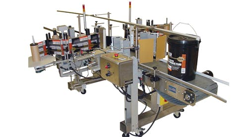Pail Labeling System Labeling machine sold by BPM SYSTEMS