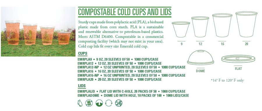 Cup size and lid options - Dome Compostable Lid for 20oz, 16oz, 12oz, 9oz Cold Cups - sold by Emerald Brand