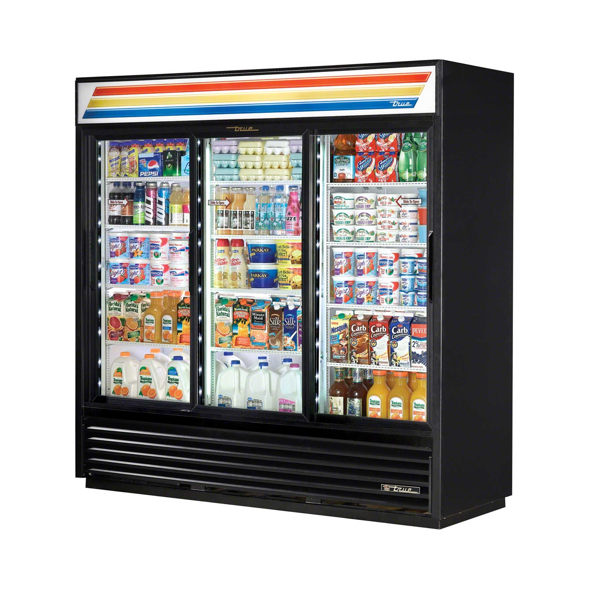 "True - GDM-69-LD 79"" Slide Glass Door Merchandiser Refrigerator LED Commercial refrigerator sold by Food Service Warehouse"