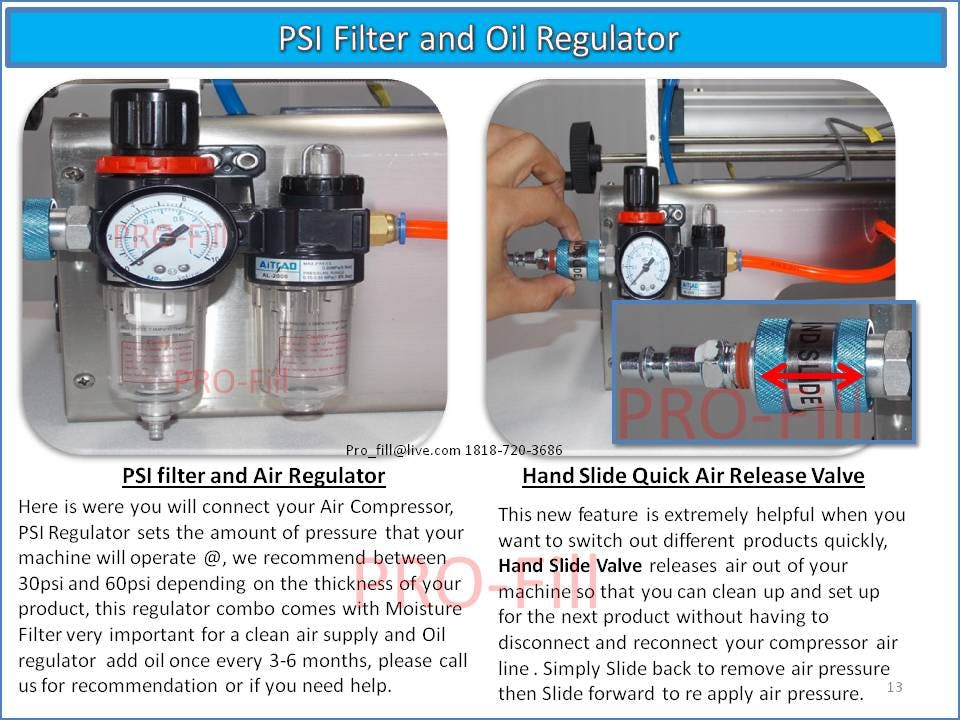 PSI Filter & oil Regulator - PISTON FILLER JET 2x-300 A/O - sold by Pro Fill Equipment