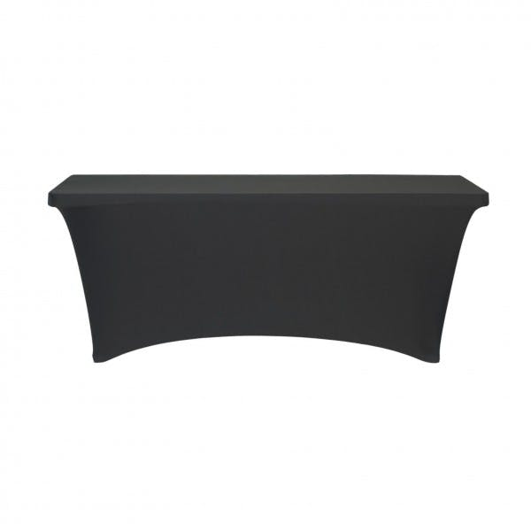 "30"" X 96"" Black Rectangular Contour Table Cover"