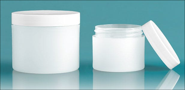 Frosted Natural Thick Wall Polypro Jars W White Smooth