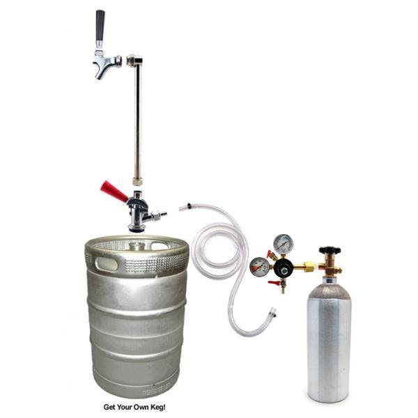 Rod & Faucet System with 5 lb CO2 Tank Keg pump sold by KegWorks