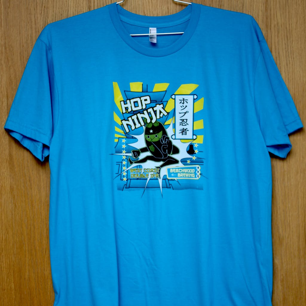Ringspun cotton tee - Beachwood - Hop Ninja IIPA Promotional shirt sold by Brewery Outfitters