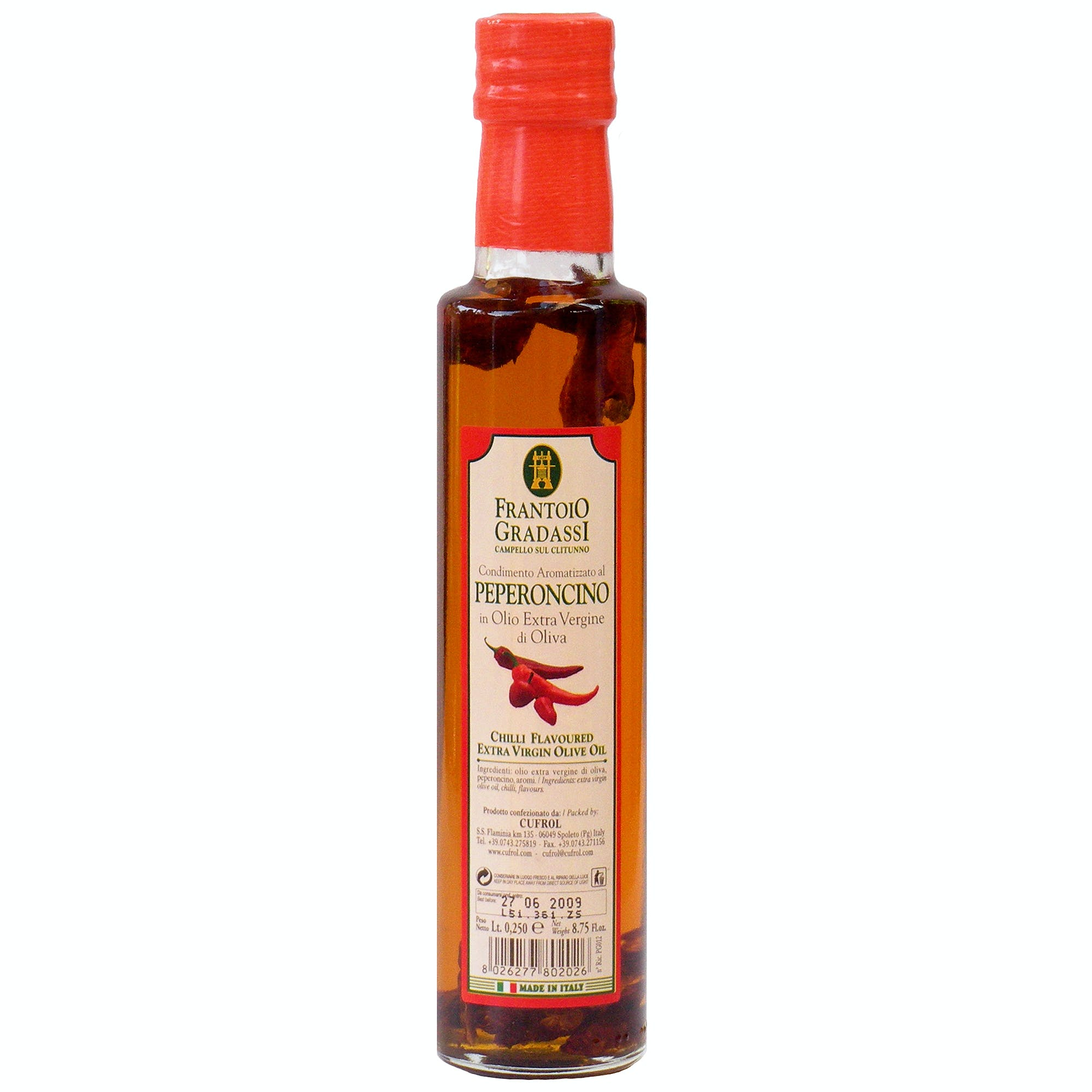 Italian Natural Pepper Infused Extra Virgin Olive Oil Dressing From Cufrol, 8.5 Ounces Infused oil sold by M5 Corporation