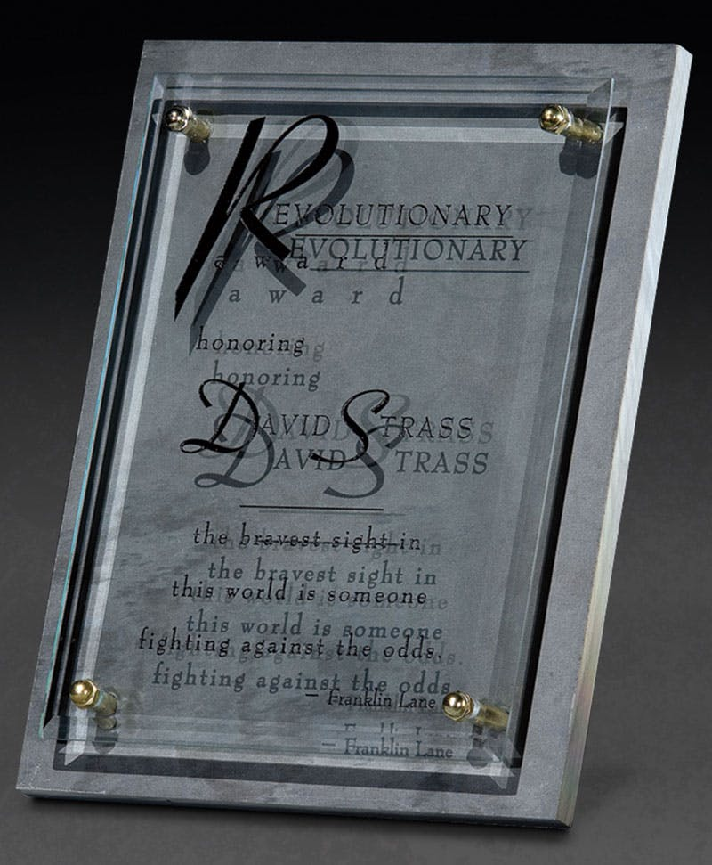 Glass and Slate Plaque award Award sold by Distrimatics, USA