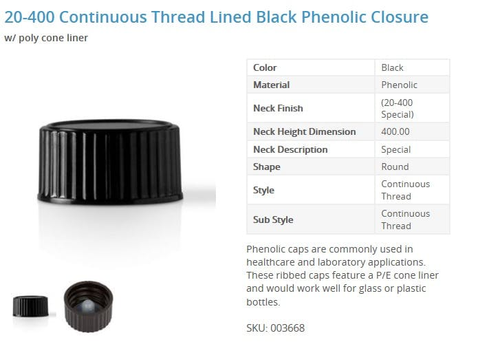 20-400 Continuous Thread Lined Black Phenolic Closure Glass bottle sold by Packaging Options Direct