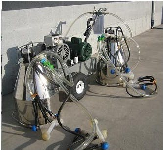 Deluxe Model milking machine for GOATS with 2 (7.5 gal) stainless bucket assemblies with 4 goat clusters Milking machine sold by Simple Milking Equipment