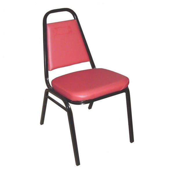 Black Finish Stacking Chair w/ Red Pad