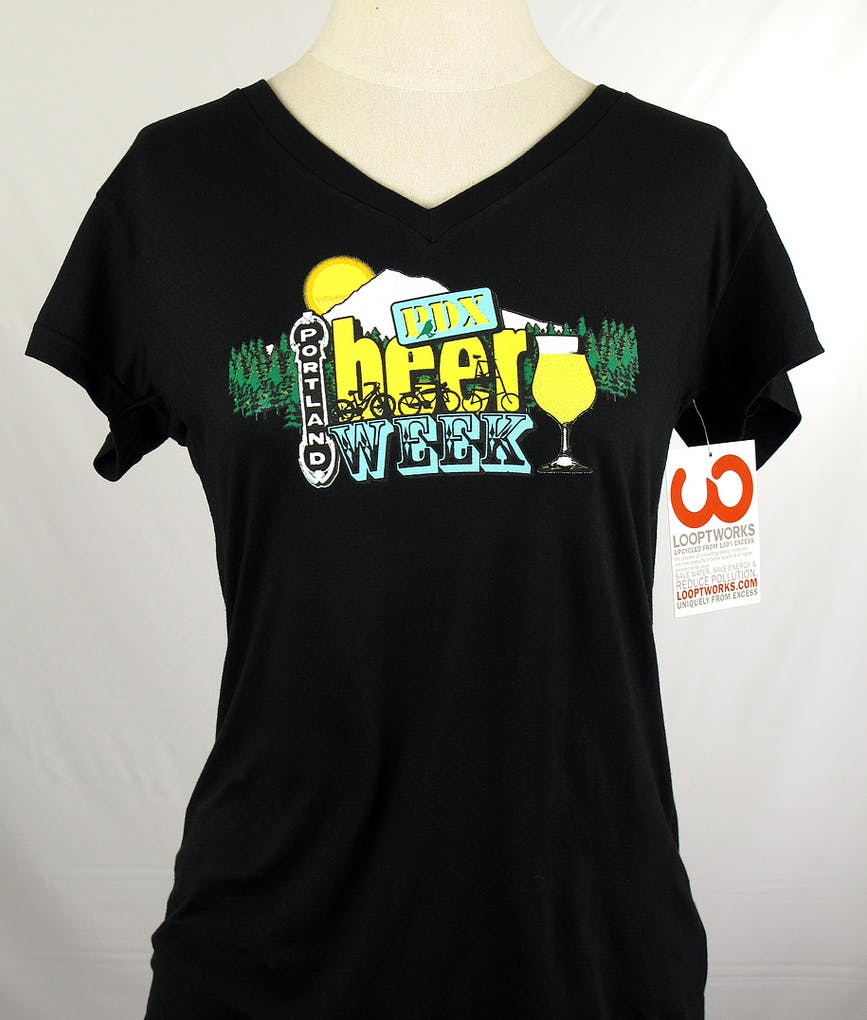 976028ed0 LADIES looptworks upcycled v-neck tee - PDX Beer Week - Promotional shirts  | Brewery Outfitters