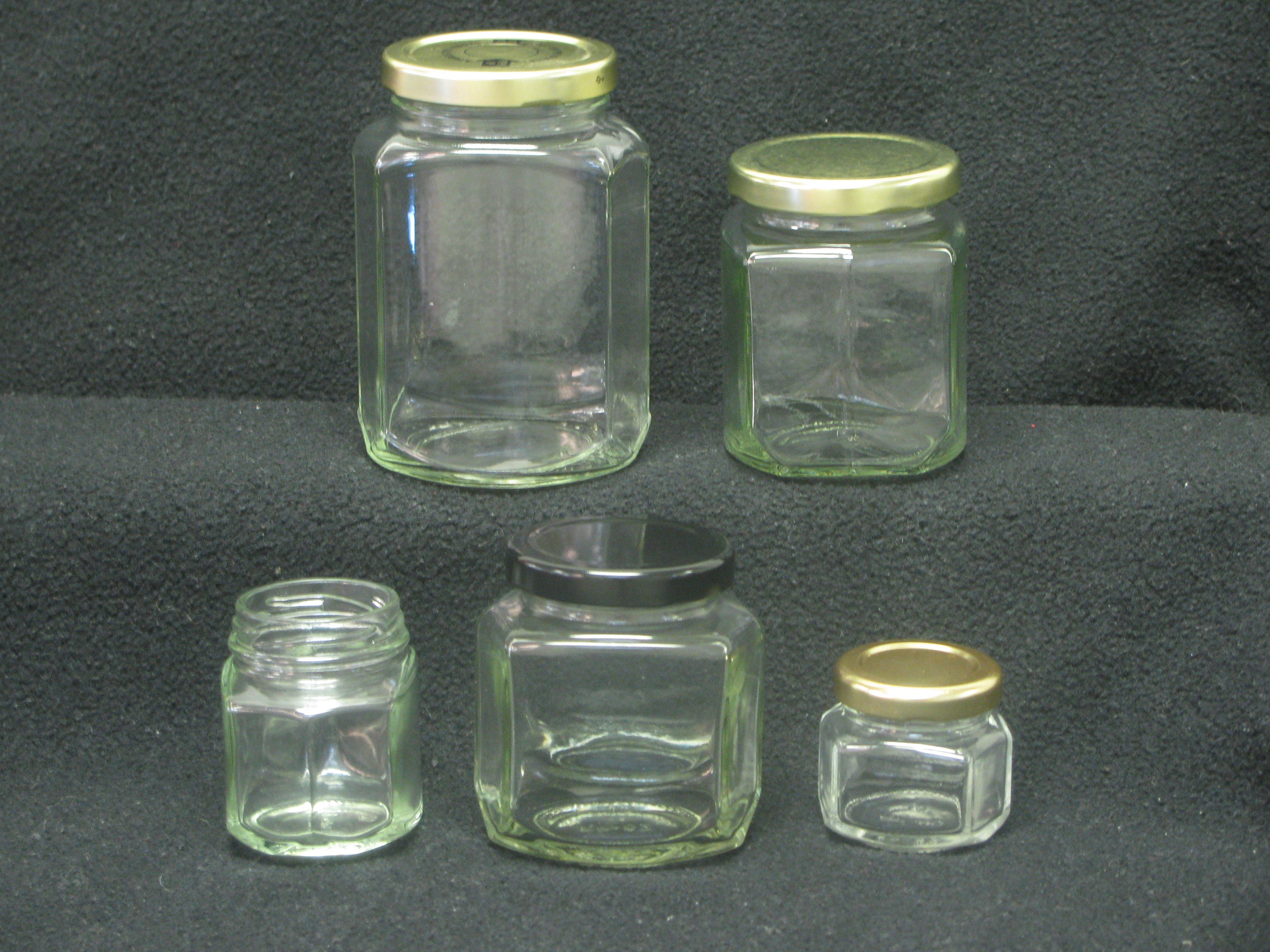 Oval Hex Jars Glass Jar sold by Richards Packaging, Inc