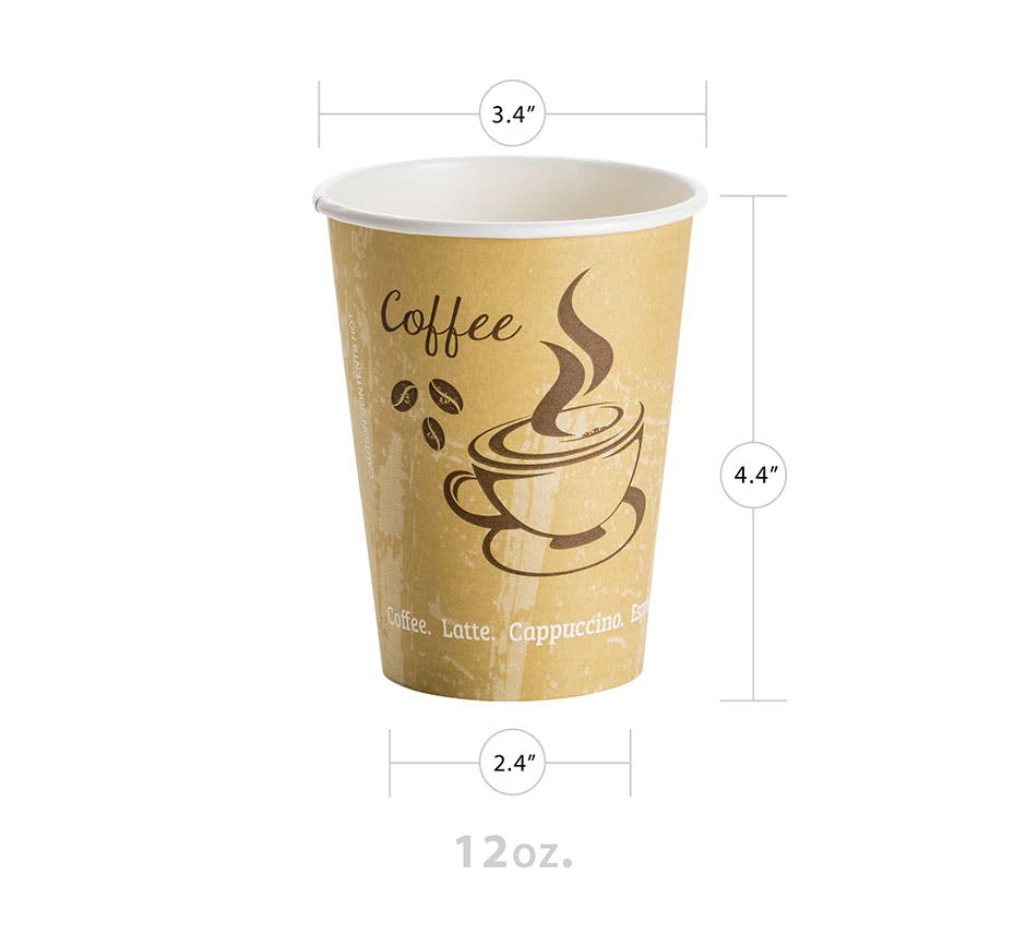 12oz Classic Design Hot Paper Cup Disposable cup sold by YESPAC Inc.