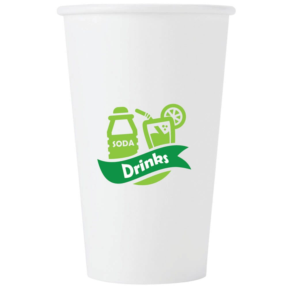 Custom Hot/Cold Paper White Cups 4-32oz - Add your logo. Free Shipping. Low MOQ. Disposable cup sold by Brand Your Cup™