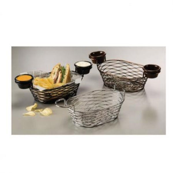 "9"" x 6"" Chrome-Finished Oblong Birdnest Metal Basket w/ 2 Ramekin Holders"