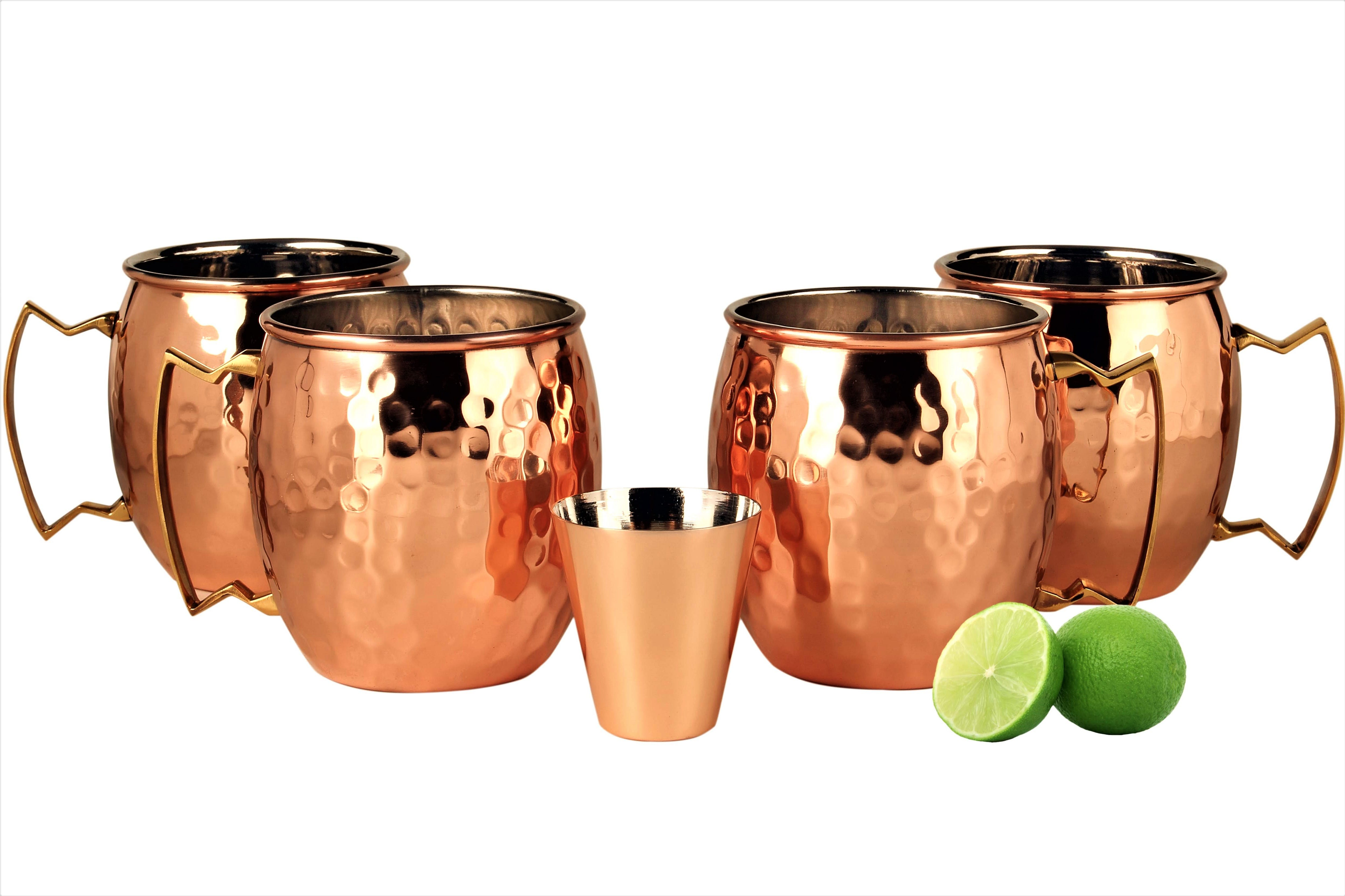 A29 Moscow Mule 100 % Solid Pure Copper Mug / Cup (16-Ounce/Set of 4, Hammered), Nickel Lined, with BONUS Shot Glass and Free Recipe Booklet - sold by a29llc