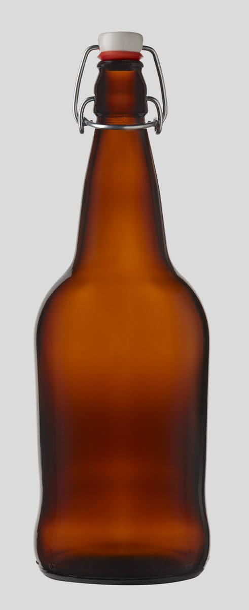 1 Liter/32oz Amber E.Z.Cap Swing/Flip Top Glass Bottles Growler sold by E.Z. Cap