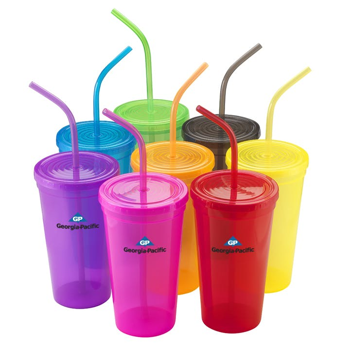 Tumbler Cup with Matching Straw (Item # NGMKU-ISCND) Plastic cup sold by InkEasy