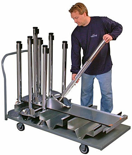 Visiontron Vertical Post Storage Cart for Crowd Control Posts - Holds 18 Posts - sold by LineLogic