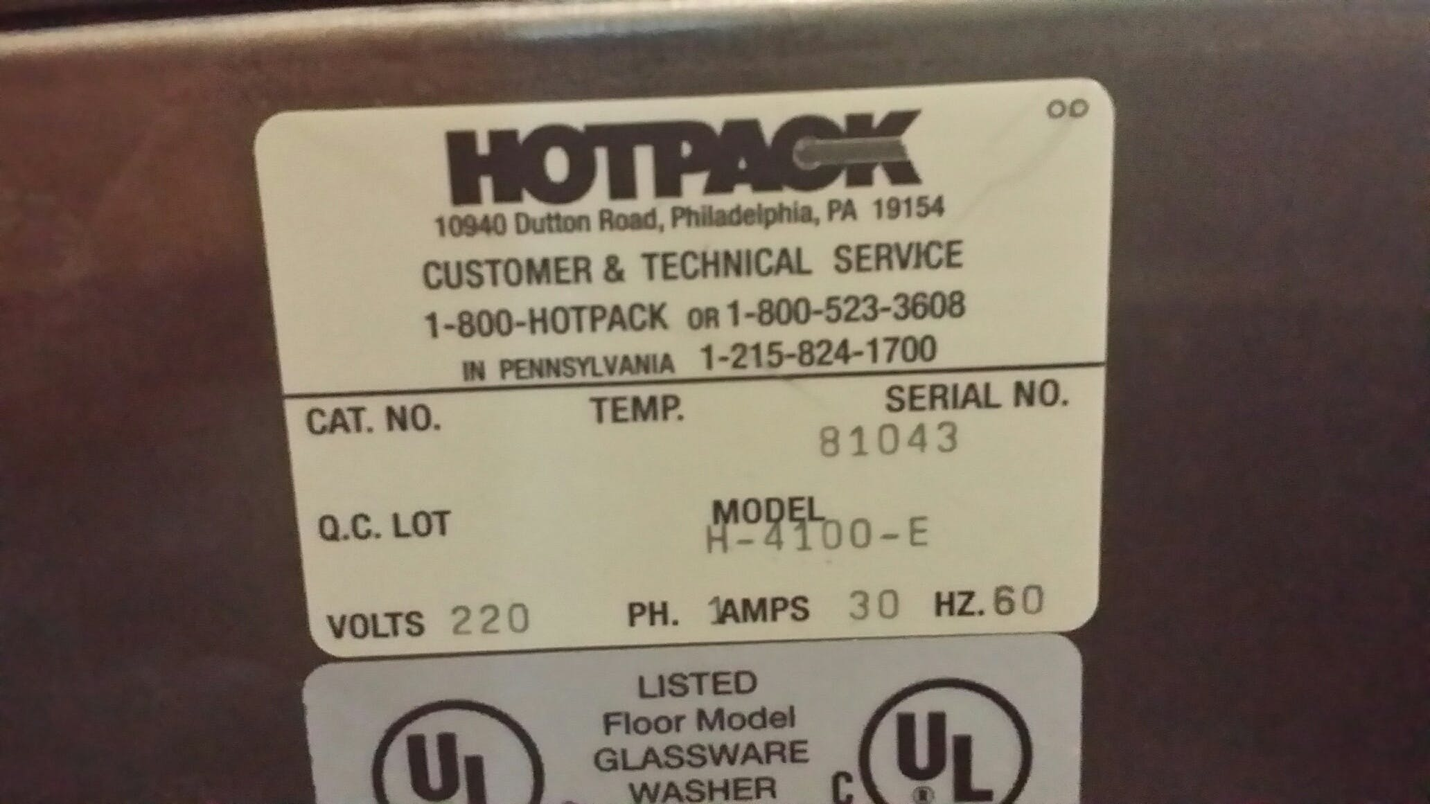 HEINICKE BY HOTPACK H-4100-E Glass Ware Washer