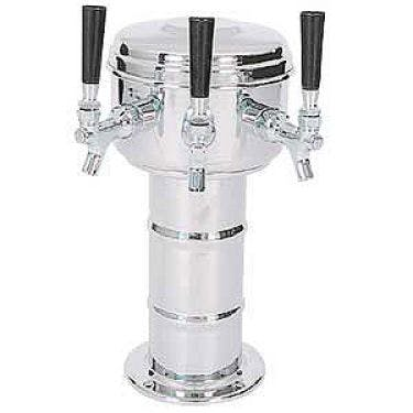 Chrome 3 Faucet Mini-Mushroom Draft Beer Tower - 4 Inch Column Draft beer tower sold by Beverage Factory