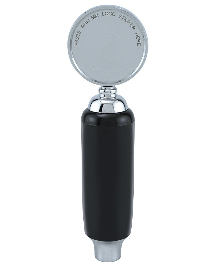 Black Plastic Draft Beer Tap Handle with Chrome Badge and Ferrule Tap handle sold by Beverage Factory