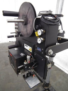 Used Willett 2600 Labeljet with SATO Barcode Printer Bottle labeler sold by Sigma Packaging