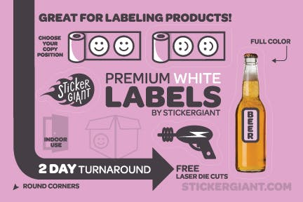 Glossy White Labels Bottle label sold by StickerGiant