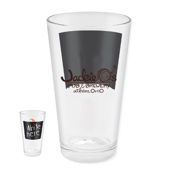 European Pilsner with Chalkboard 16 oz. Beer glass sold by MicrobrewMarketing.com
