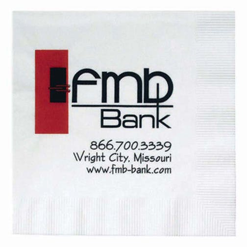 Napkins, 1-Ply White NapkinsHL130BN, White Beverage, Coin Edge Embossing Napkin sold by Distrimatics, USA