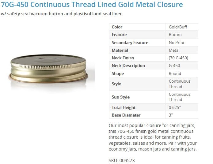 70G-450 Continuous Thread Lined Gold Metal Closure Glass bottle sold by Packaging Options Direct