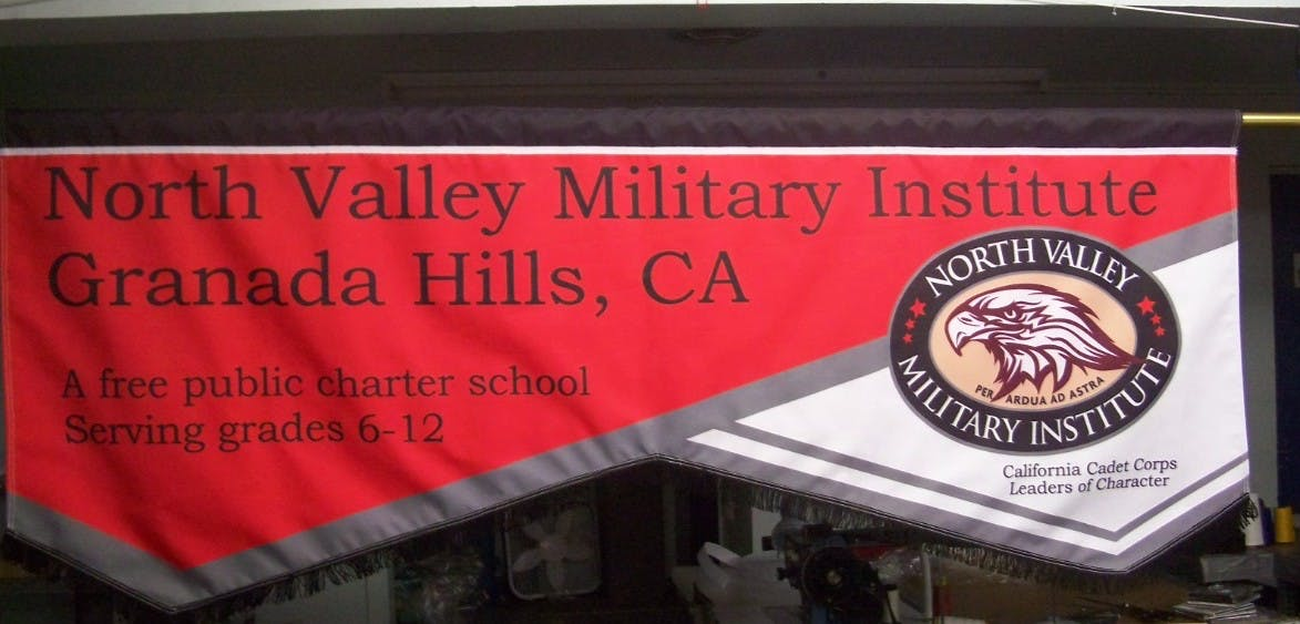 Marching Banners - Dye-Printed on Polyester Fabric Fabric banner sold by Arista Flag Corporation