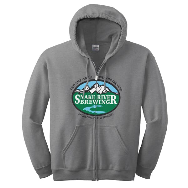 Over the Zipper imprint on Gildan Full-Zip Hoodie Promotional apparel sold by MicrobrewMarketing.com