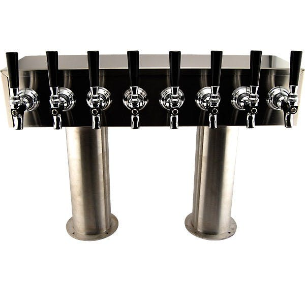 "4"" Pedestal H Towers - Stainless Steel - 14 to 20 Faucets - Glycol Ready Draft beer tower sold by KegWorks"