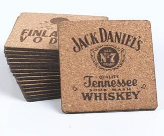 fire branded cork coasters, also custom shapes available - sold by Luscan Group