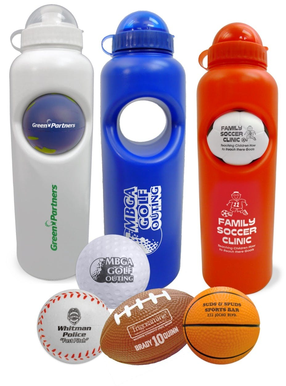 Stress Ball Water Bottle Set (Item # TJINS-FPCVT) Promotional water bottle sold by InkEasy
