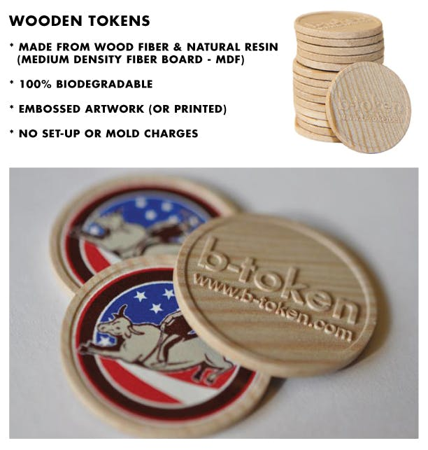 Embossed Wooden Token Promotional token sold by Brewery Outfitters