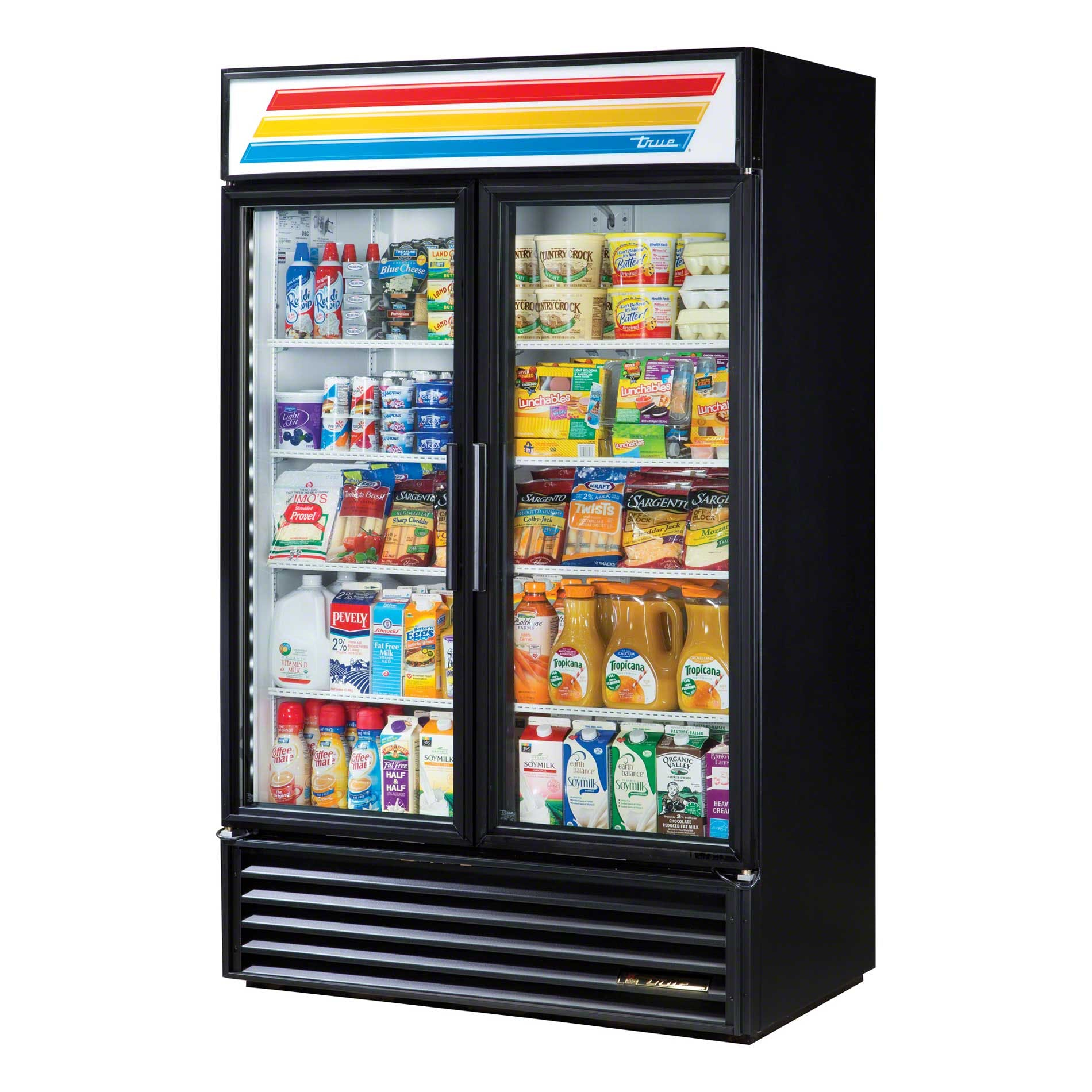 "True - GDM-43-LD 47"" Swing Glass Door Merchandiser Refrigerator LED Commercial refrigerator sold by Food Service Warehouse"
