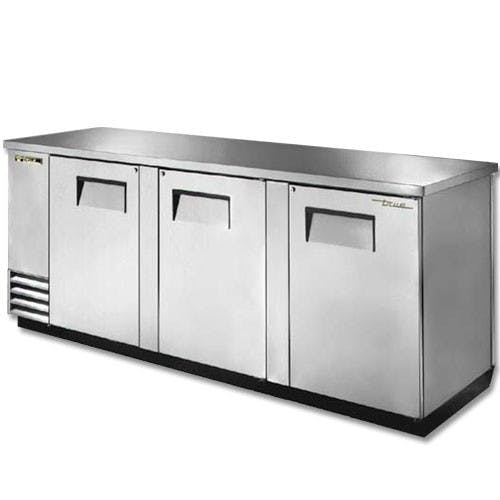 True Manufacturing TBB-4-S Back Bar Cooler, 3 Doors, Holds 209 6-Packs, Stainless Steel Back bar cooler sold by Mission Restaurant Supply