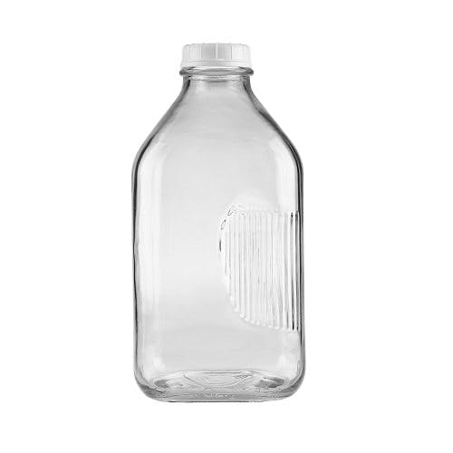 64 oz Clear Glass Milk Bottles (Optional White Tamper-Evident Cap) Glass bottle sold by Freund Container & Supply