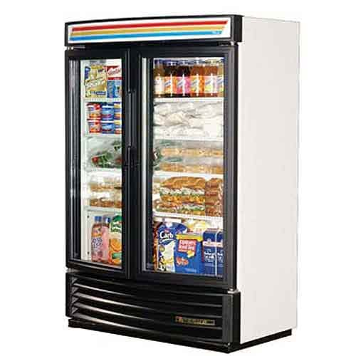 "True - GDM-35SL-RF 40"" Radius Front Glass Door Merchandiser Refrigerator Commercial refrigerator sold by Food Service Warehouse"