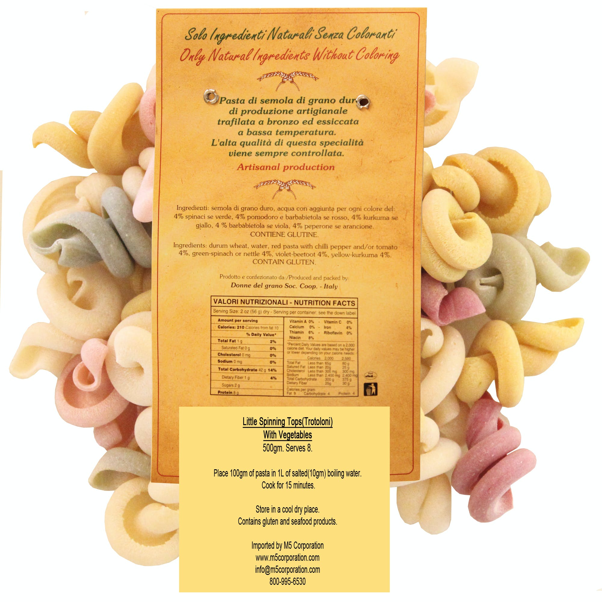 """Little Spinning Tops """"Trottoloni"""" Colored Pasta - sold by M5 Corporation"""