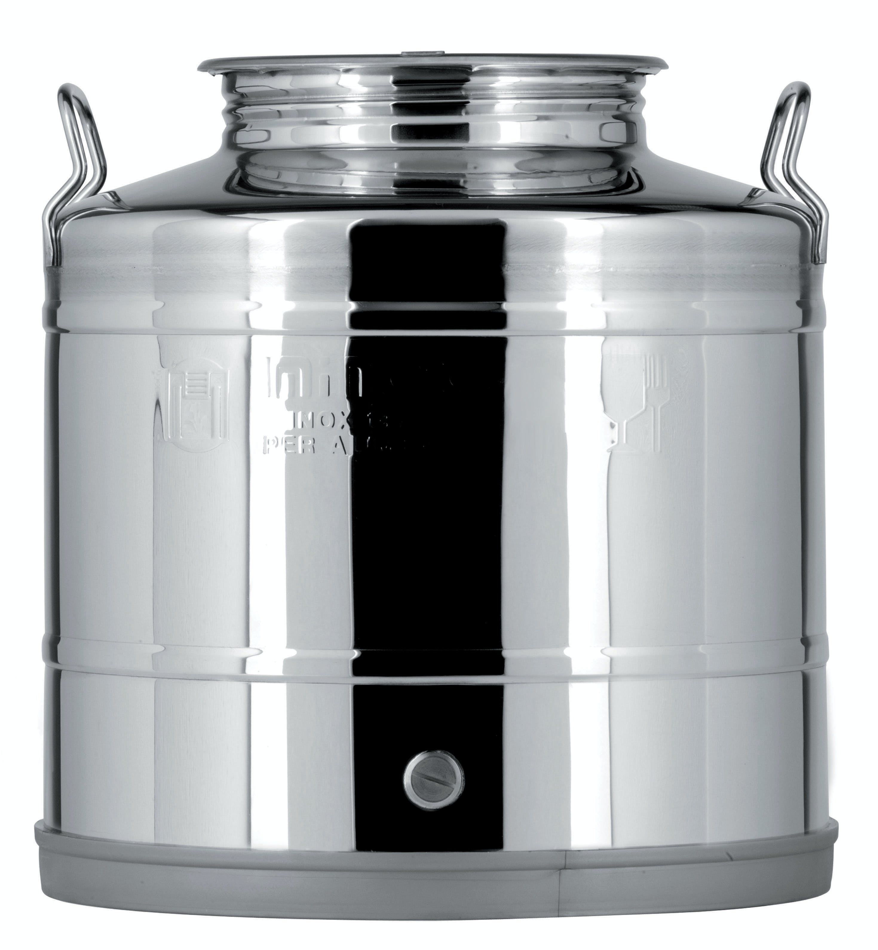 Italian Made Stainless Steel National Sanitary Foundation (NSF) Certified Fusti-25 Liters Steel fusto sold by M5 Corporation