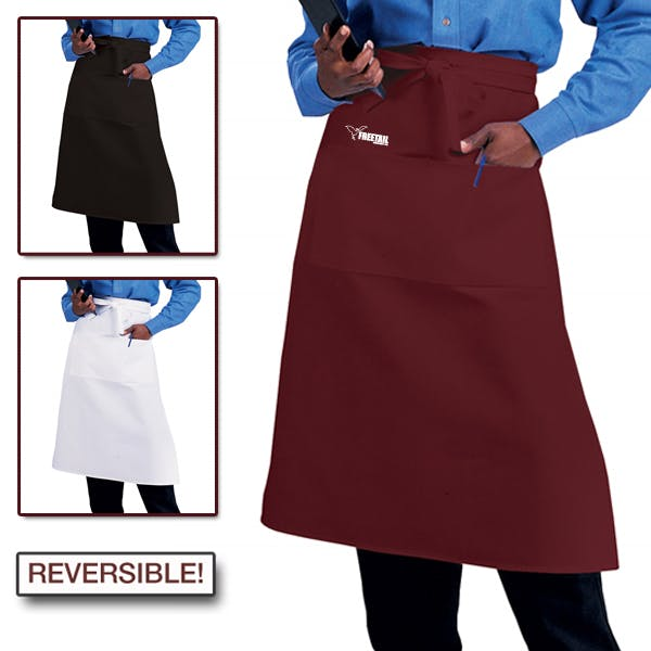 Reversible Two Pocket Bistro Apron Promotional apparel sold by MicrobrewMarketing.com