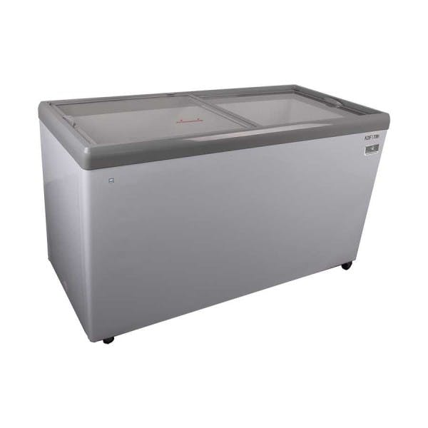 "71"" White Glass Top Ice Cream Display Freezer"